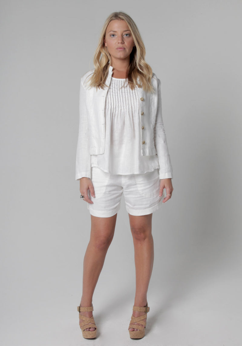 100% Linen Blazer in White