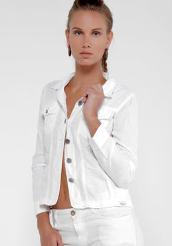 100% Linen 2 Pocket Military Jacket in White