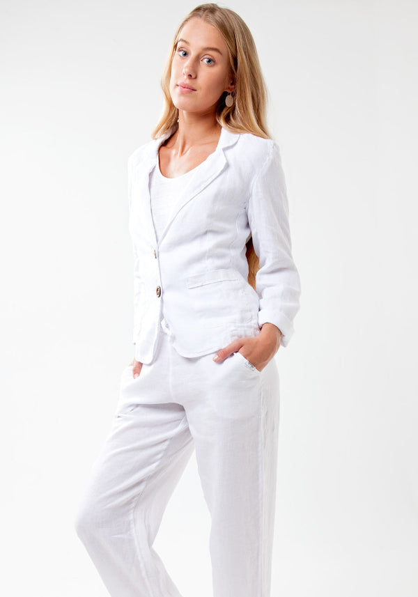 100% Linen Blazer with Coco Buttons in White