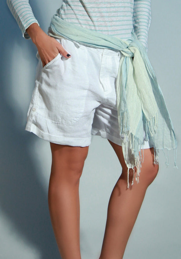 100% Linen Relaxed 4 pocket Short in White