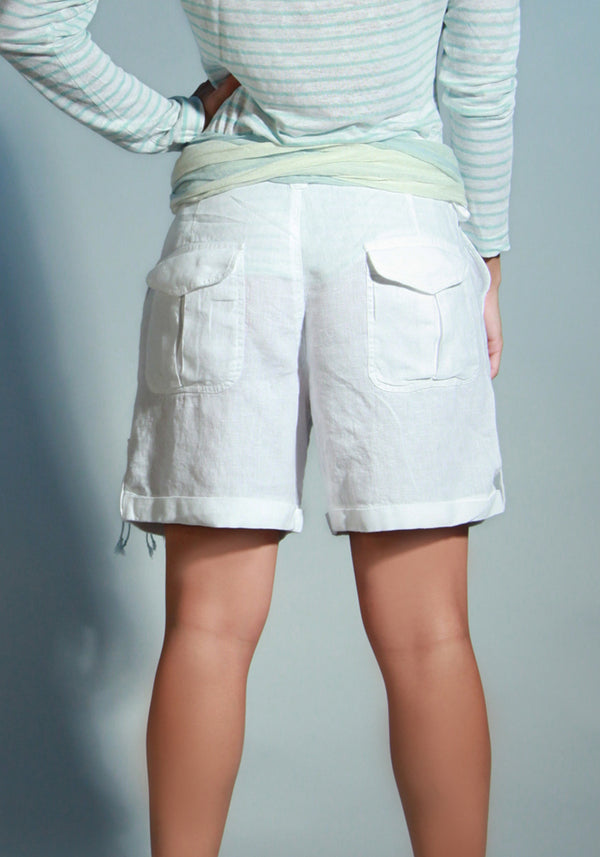 100% Linen Relaxed 4 pocket Short in White S to XXXL - Claudio Milano