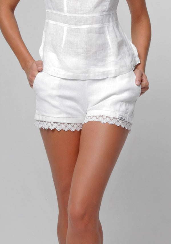 100% Linen Lace Detailed Short in White S to XXXL - Claudio Milano