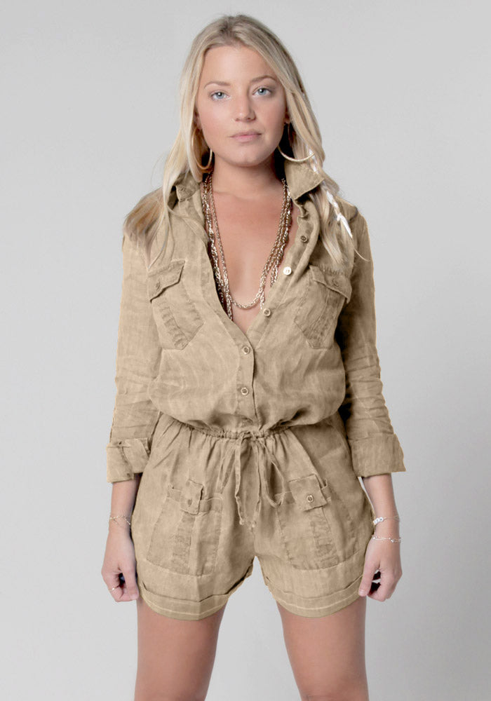 100% Linen Button Down Romper With Pockets and Drawstring