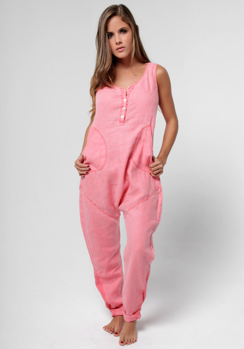 100% Linen Drop Crotch Jumpsuit