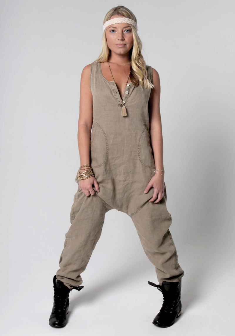 100% Linen Drop Crotch Jumpsuit S to XXXL - Claudio Milano
