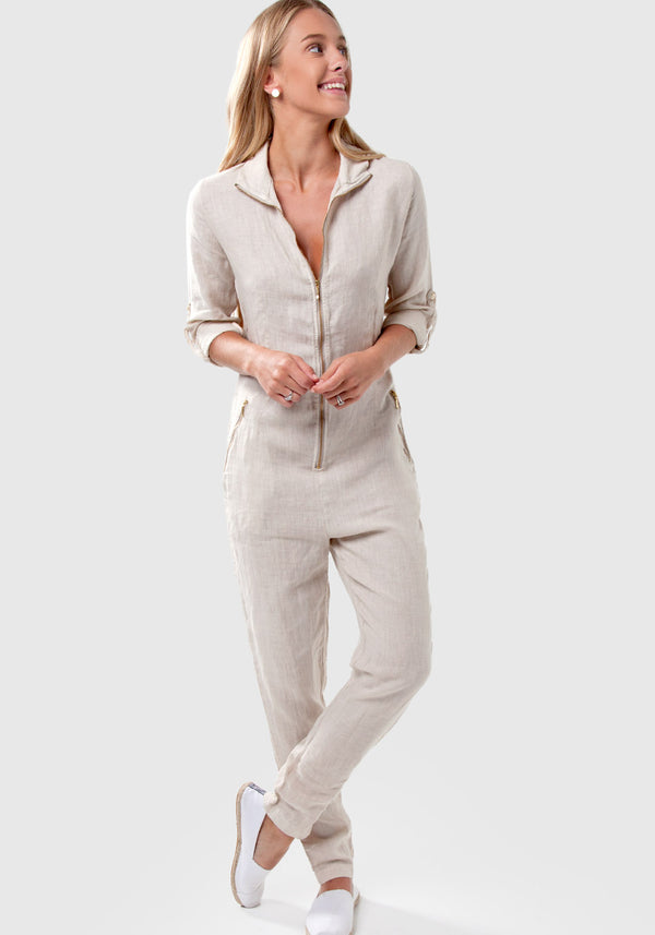 100% Linen Zip-Up Long Fitted Jumpsuit