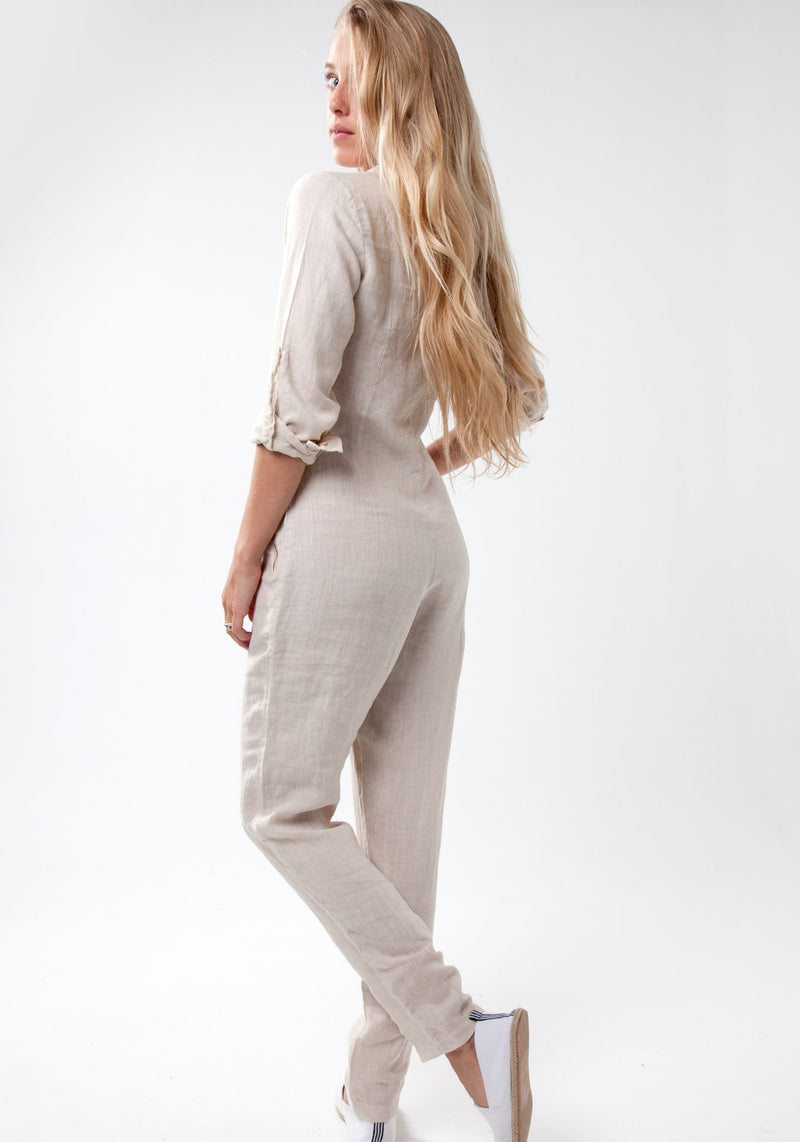 100% Linen Zip-Up Long Fitted Jumpsuit S to XXXL - Claudio Milano
