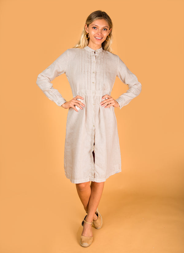 #8312 Dress Linen for Women - White, Black, Red, Aqua, Blue, Green All  100% Natural Italian Style Pleated Button-Down Dress