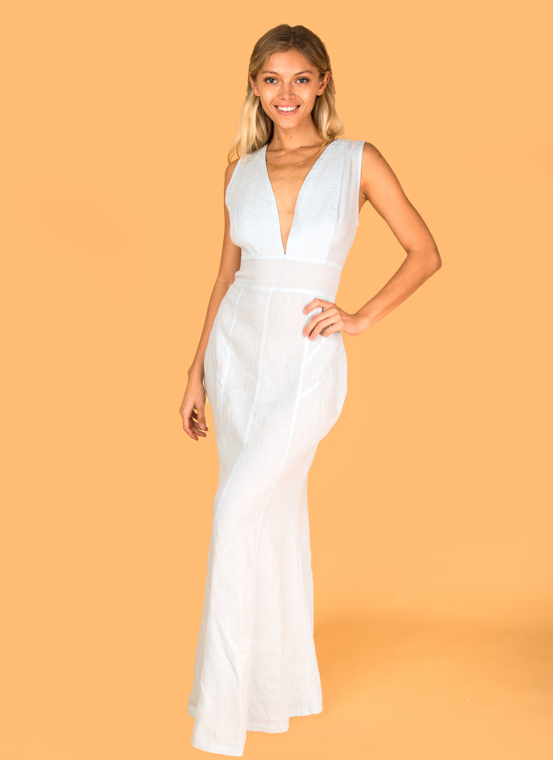 #8352 Dress Linen for Women - White, Black, Red, Aqua, Blue, Green All  100% Natural Italian Style Cut & Sew Plunge-Neck Maxi Dress in White