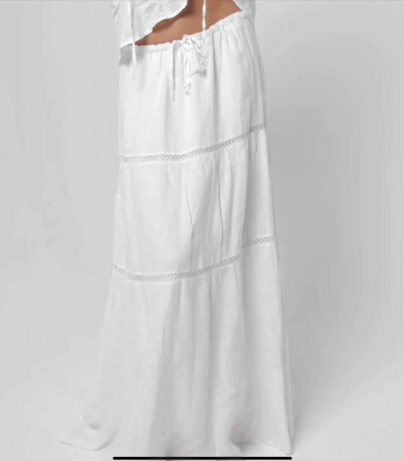 #8408 Linen Clothing 100% Natural Italian Style Boho Skirt