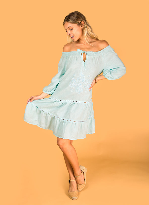 #8331 Linen Bohemian Dress for Women Italian Style Loose Fit Dress With Floral Embroidery