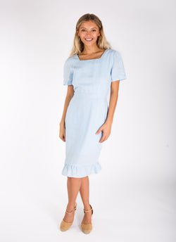 #8398 Dress Linen for Women - White, Black, Red, Aqua, Blue, Green All  100% Natural Italian Style SHORT SLEEVE FLORENTINE DRESS WITH FLARED BOTTOM
