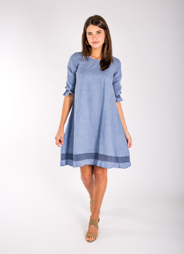 #8365 Dress Linen for Women - White, Black, Red, Aqua, Blue, Green All  100% Natural Italian Style Banded 3/4 Sleeve Moo Dress