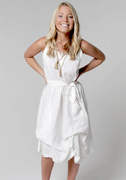 100% Linen V-Neck Dress With Loose Folds And Front Pockets