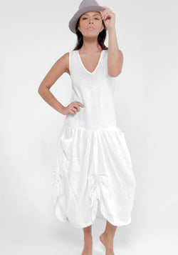 100% Linen Adjustable Parachute Dress with Front Pockets S to XXXL - Claudio Milano
