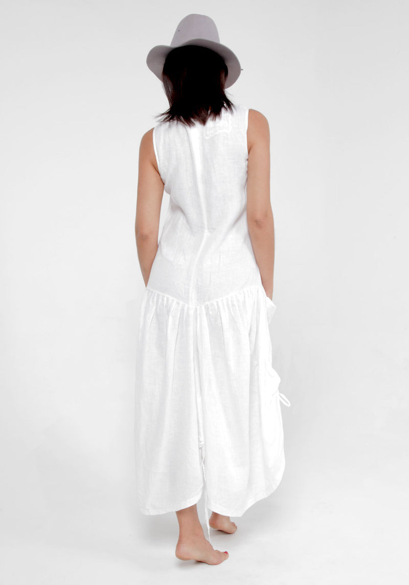 100% Linen Adjustable Parachute Dress with Front Pockets