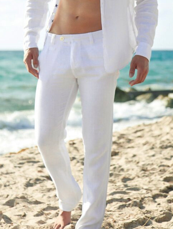 Linen Men Pant Summer Clothing white Color also available in Black, Navy, Denim, Gray, Blue and Gray. 100% Natural Italian Style Pant With Pockets #1212