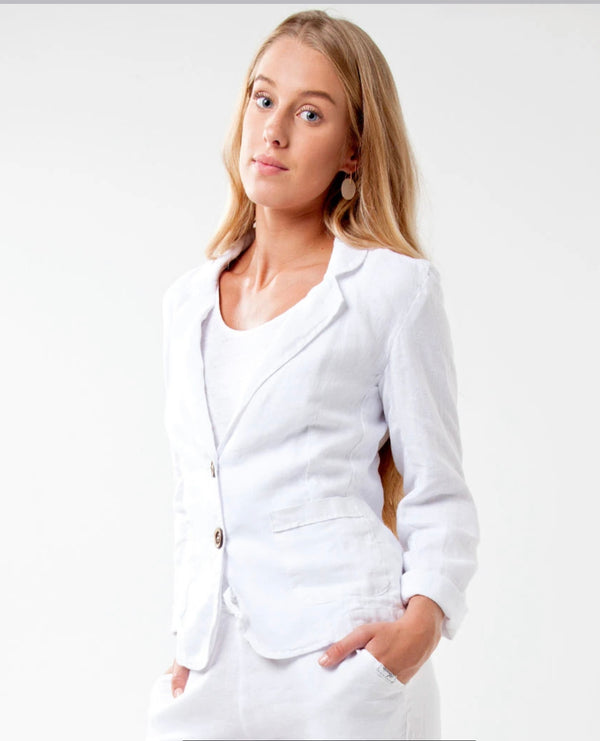 #8506 Linen Clothing 100% Natural Italian Style Blazer with Coco Buttons