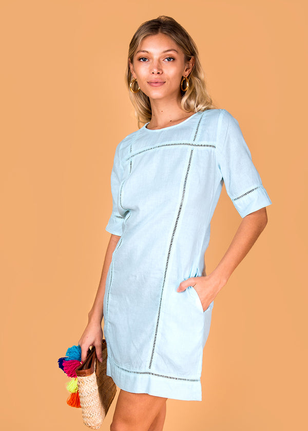 #8385 Dress Linen for Women 100% Natural Italian Style 3/4 Sleeve Linen dress with lace detail colors White, Black, Red, Aqua, Blue, Green