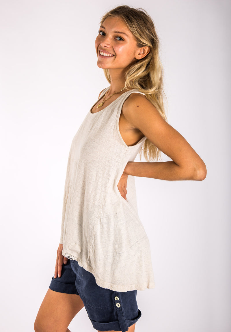 #8152 Plain Uneven Linen Tank Top in White Natural Italian Style Clothing 100% Natural Linen (Summer deal 50% Discount)