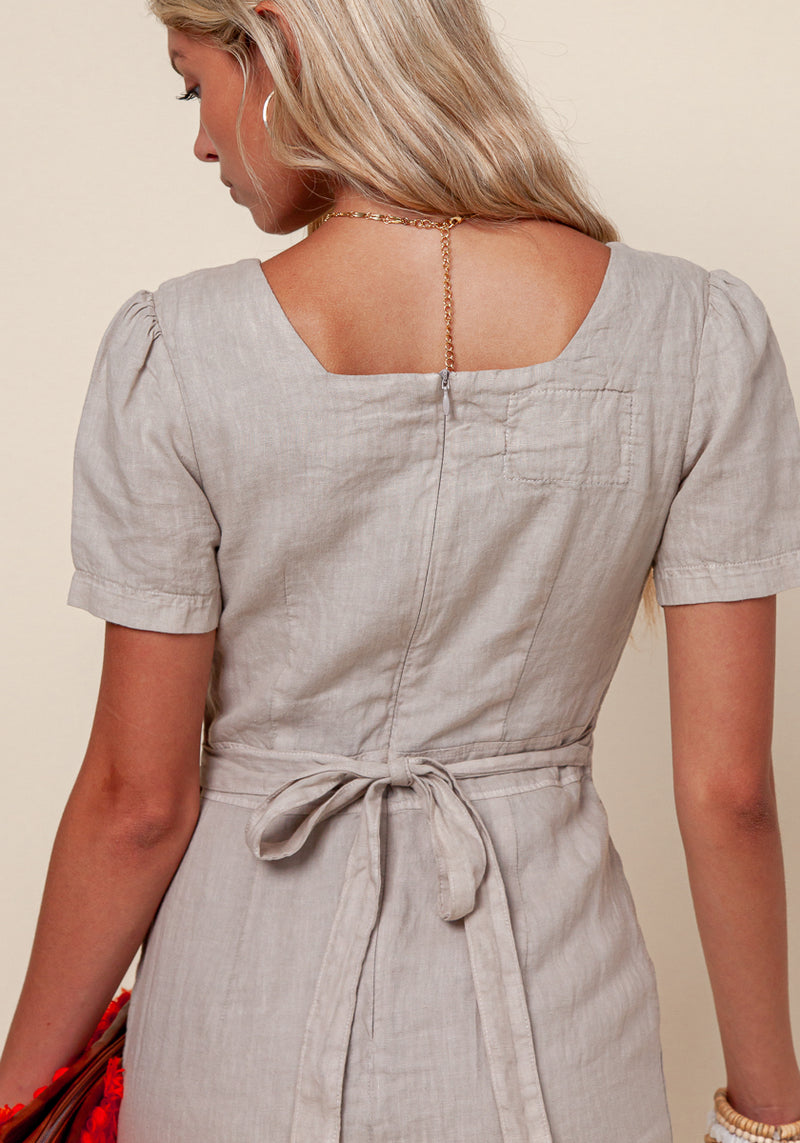100% LINEN SHORT SLEEVE FLORENTINE DRESS WITH FLARED BOTTOM S to XXXL - Claudio Milano