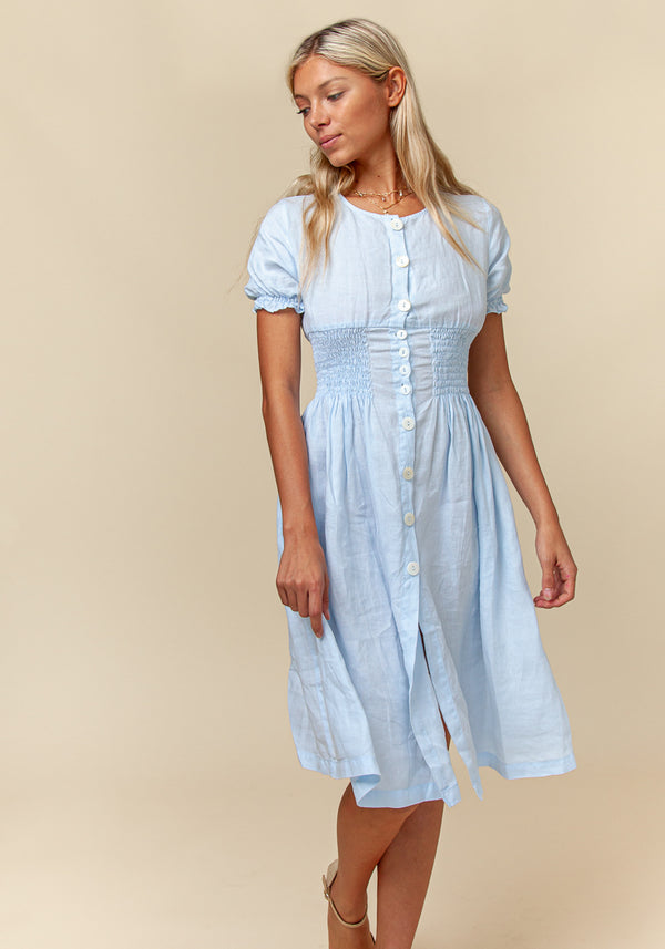 100% Linen Button Down Short Sleeve Peasant Dress S to XXXL - Claudio Milano