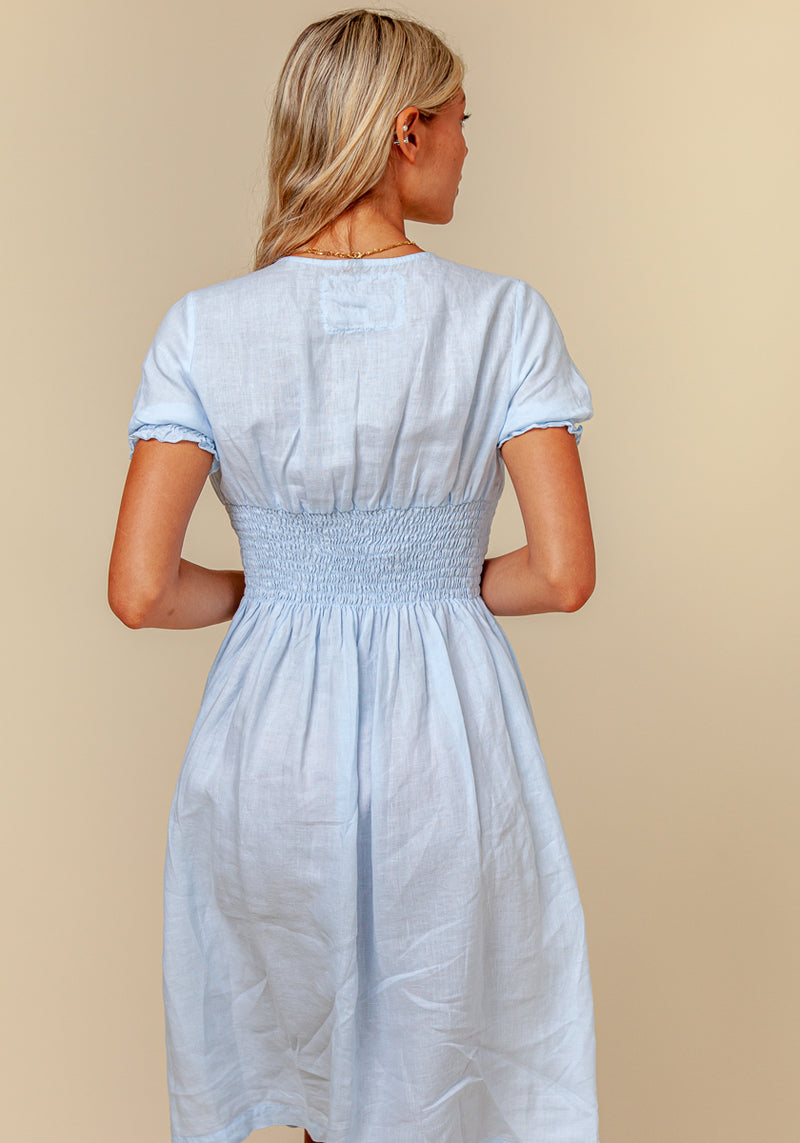 100% Linen Button Down Short Sleeve Peasant Dress