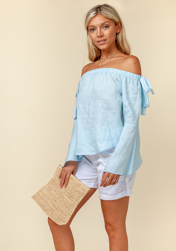 100% Linen Off The Shoulder Top With Bell Sleeves