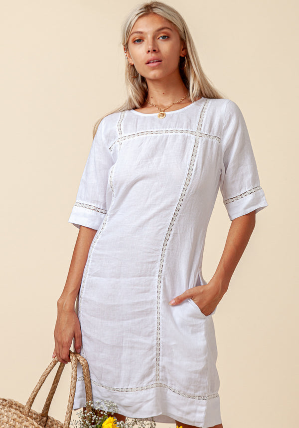 100% LINEN 3/4 SLEEVE DRESS WITH LACE DETAIL