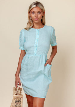 100% LINEN SHORT SLEEVE TEACUP DRESS WITH POCKETS