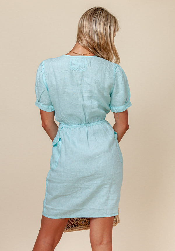 100% LINEN SHORT SLEEVE TEACUP DRESS WITH POCKETS S to XXXL - Claudio Milano