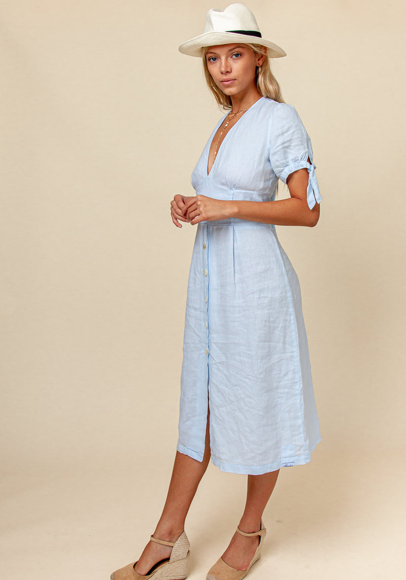 100% Linen Deep-V Dress With Button Details