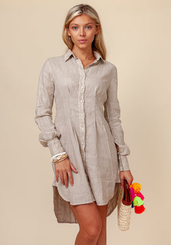 100% LINEN FITTED BUTTON DOWN SHIRT DRESS S to XXXL - Claudio Milano