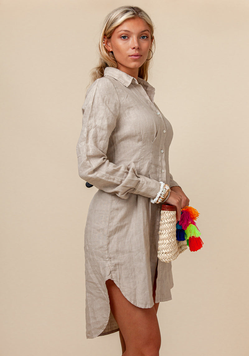 100% LINEN FITTED BUTTON DOWN SHIRT DRESS