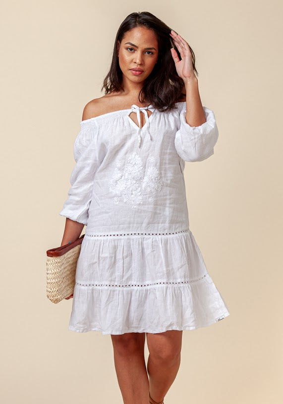 100% Linen Bohemian Loose-Fit Dress With Floral Embroidery In White