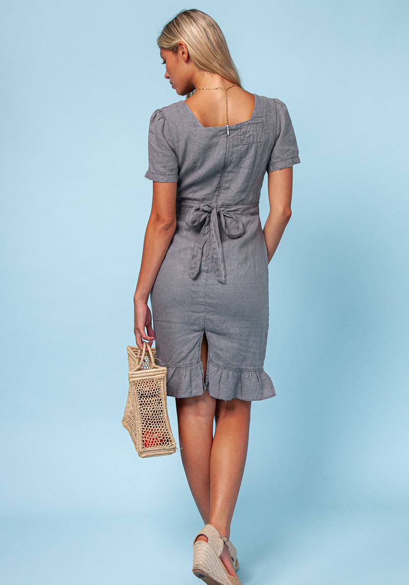 100% LINEN SHORT SLEEVE FLORENTINE DRESS WITH FLARED BOTTOM