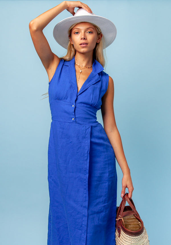 100% LINEN SLEEVELESS DRESS WITH COLLAR - LONG S to XXXL - Claudio Milano