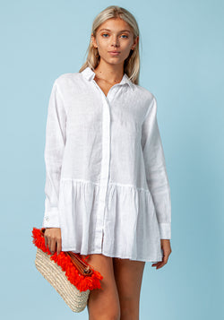 100% LINEN BUTTON DOWN FLIRTY TUNIC