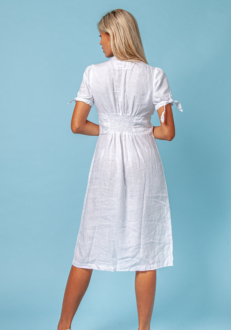 100% Linen Deep-V Dress With Button Details S to XXXL - Claudio Milano