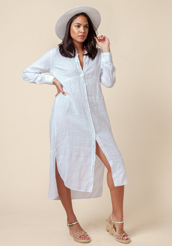 100% LINEN BUTTON-DOWN MAXI SHIRT DRESS S to XXXL - Claudio Milano