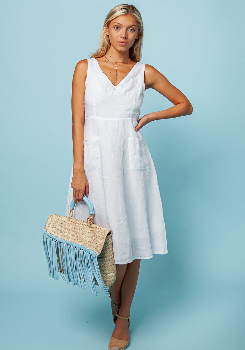 100% LINEN SLEEVELESS FLARE DRESS WITH BELT