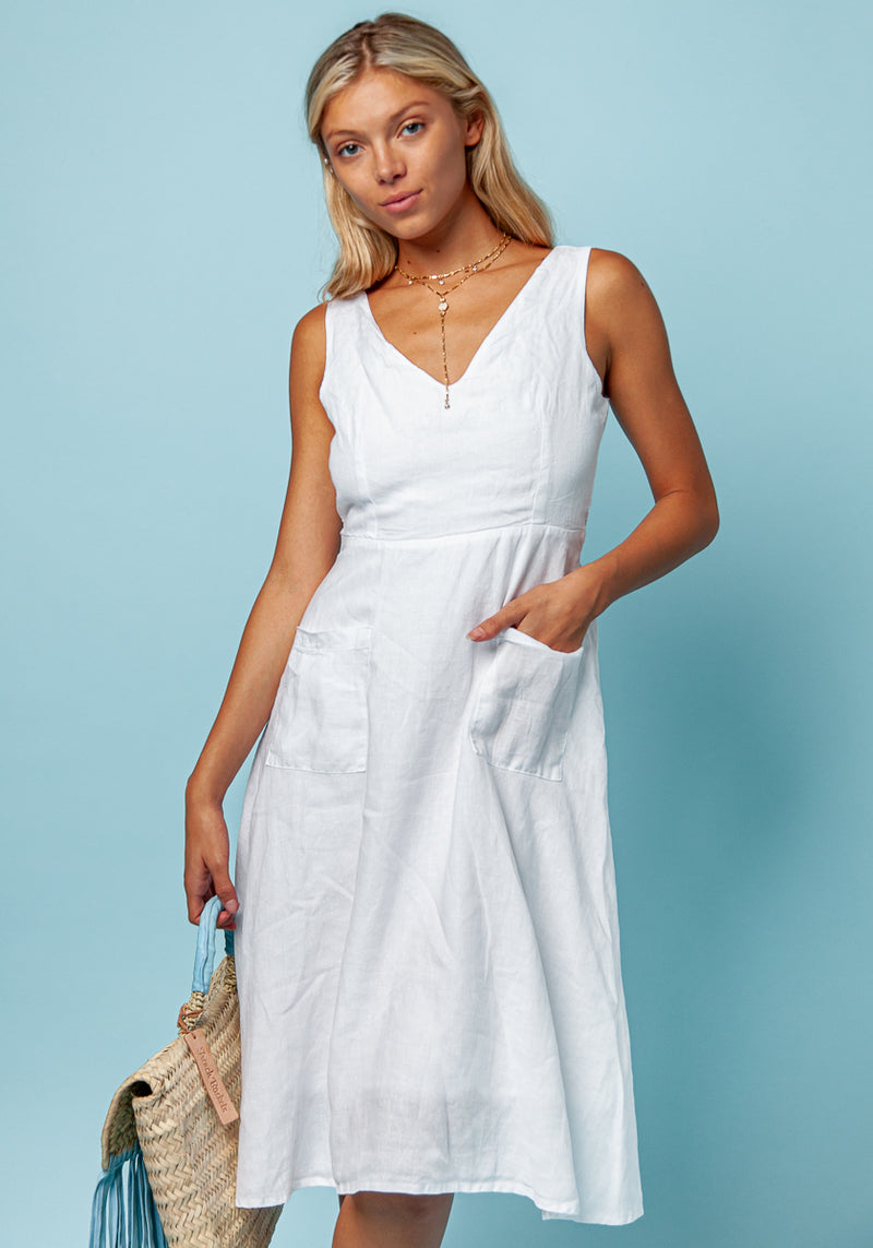100% LINEN SLEEVELESS FLARE DRESS WITH BELT S to XXXL - Claudio Milano