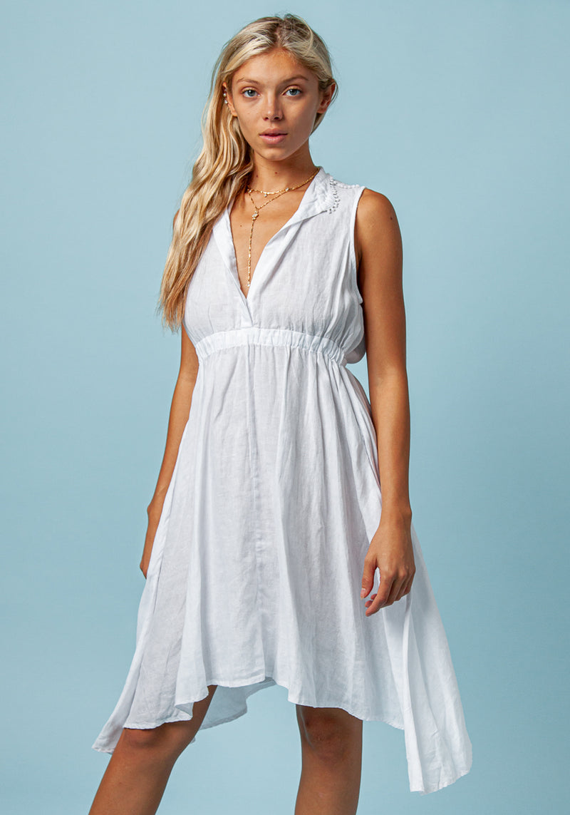 100% LINEN SLEEVELESS DRESS WITH ELASTIC WAIST AND SHOULDER DETAIL