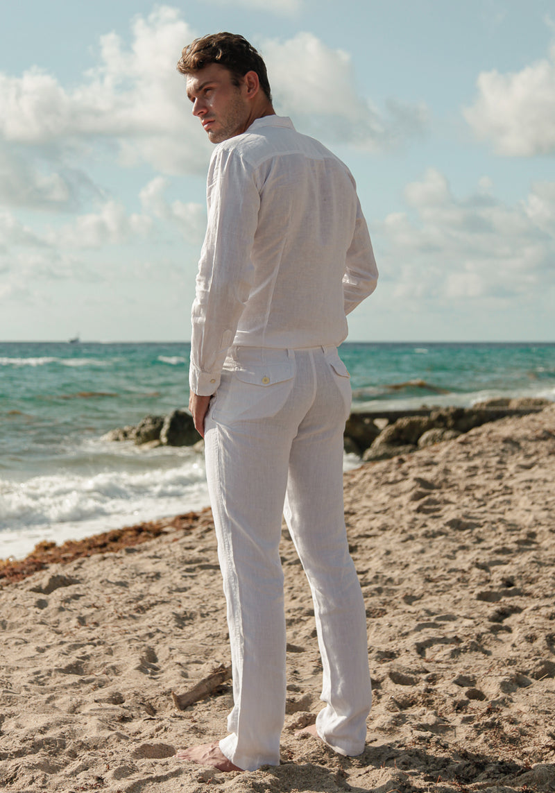 100% Linen  Pant With Pockets S to XXXL - Claudio Milano