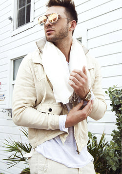 100% LINEN JACKET WITH DETACHABLE HOODIE & BUTTON POCKETS