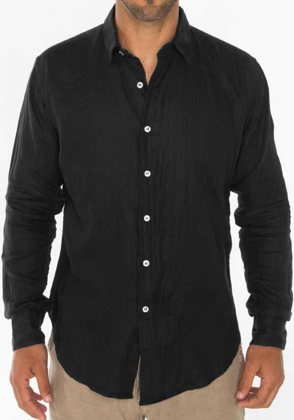 100% LINEN REGULAR FIT LONG SLEEVE BUTTON DOWN SHIRT S to XXXL - Claudio Milano