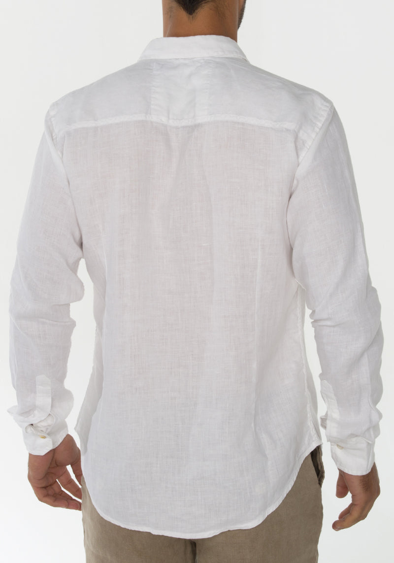 100% LINEN REGULAR FIT LONG SLEEVE BUTTON DOWN SHIRT