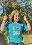 Kid's I Really Like NJ T-Shirt Scuba Blue w/Pink