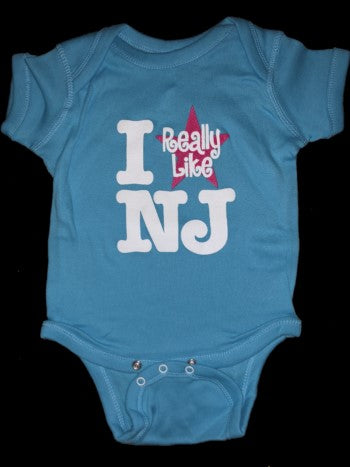 I Really Like NJ Scuba Blue w/Pink Onesie - 6m