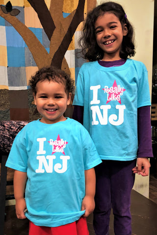 Toddler I Really Like NJ T-Shirt - Scuba Blue w/Pink